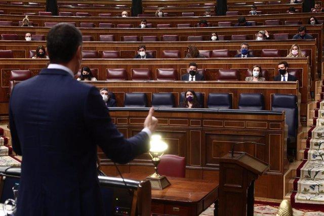 El president del Govern central, Pedro Sánchez, una sessió de control al Congrés dels Diputats. Madrid (Espanya), 24 de febrer del 2021.