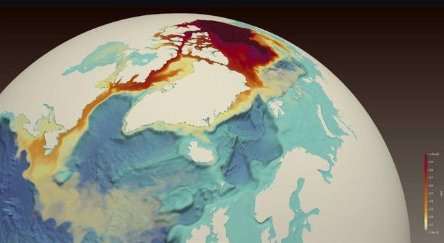 Un trazador de tinte rojo simulado liberado desde el Giro de Beaufort en el Océano Ártico (parte superior central) muestra el transporte de agua dulce a través del archipiélago ártico canadiense