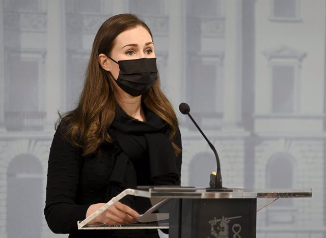 25 February 2021, Finland, Helsinki: Sanna Marin, Prime Minister of Finland, speaks during a press conference. The Finnish government on Thursday said it would closerestaurants and bars for three weeks in March to counter a deteriorating epidemiological