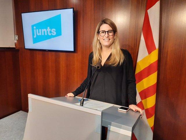 La líder de Junts a l'Ajuntament de Barcelona, Elsa Artadi, en roda de premsa.