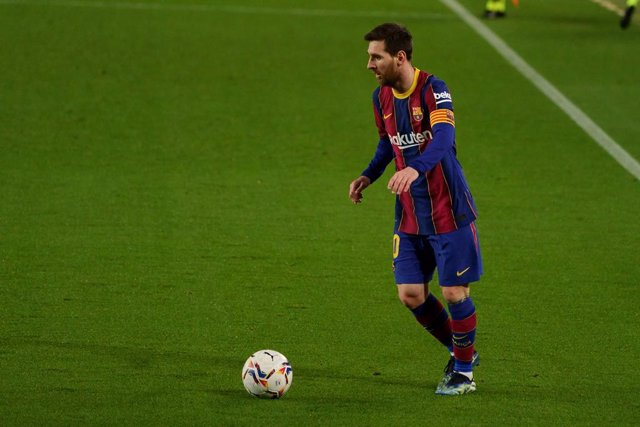 24 February 2021, Spain, Barcelona: Barcelona's Lionel Messi in action during the Spanish Primera Division soccer match between FC Barcelona and Elche CF at Camp Nou. Photo: Joma Garcia/DAX via ZUMA Wire/dpa
