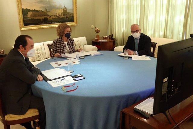 La Reina Sofía, durante la ratificación del acuerdo de colaboración firmado por ambas instituciones