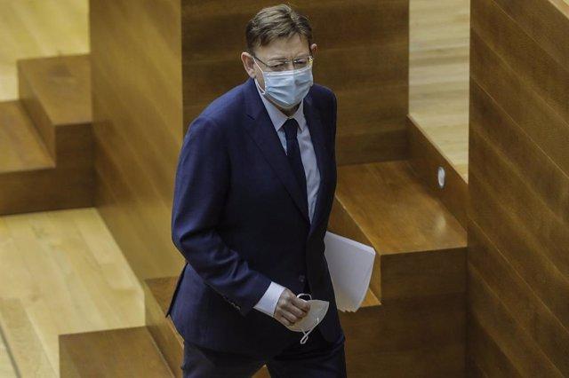 El president de la Generalitat Valenciana, Ximo Puig, en una sessió de control a les Corts. València (Espanya), 25 de febrer del 2021.