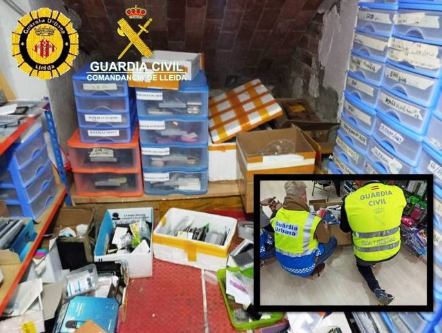 Material falsificat que han intervingut la Guàrdia Civil i la Policia Local de Lleida.