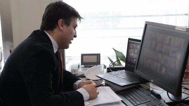 El secretario general de Industria y Minas, Cristóbal Sánchez, durante su participación en el Pleno del Consejo Andaluz de Cámaras de Comercio, Industria, Servicios y Navegación de Andalucía celebrado este jueves.