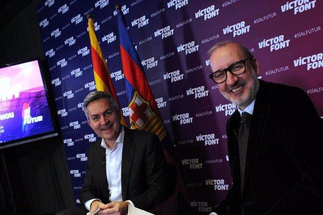 El candidato a la presidencia del FC Barcelona Víctor Font (izquierda) junto a Antoni Bassas en una comparecencia de 'Sí al Futur'