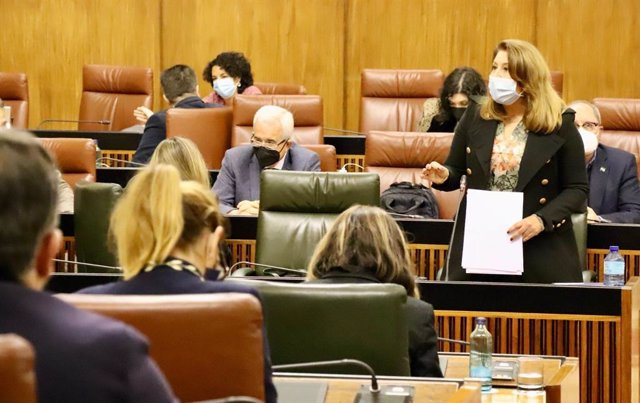 La consejera de Agricultura, Ganadería y Pesca, Carmen Crespo, en el Parlamento andaluz.