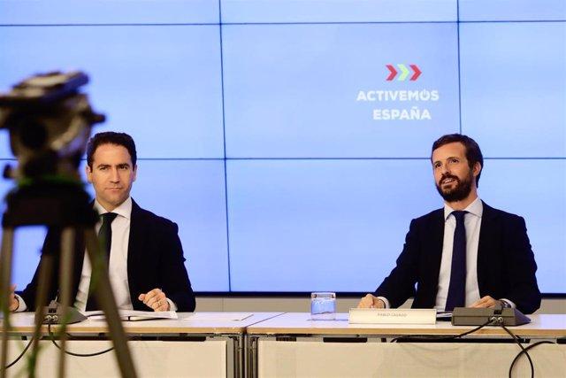 Archivo - El secretario general del PP, Teodoro García Egea, y el presidente del Partido Popular, Pablo Casado, durante la reunión de la Junta Directiva Nacional del Partido Popular, a 20 de agosto de 2020.