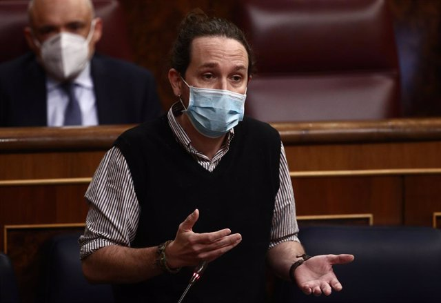 El vicepresident segon del Govern espanyol, Pablo Iglesias, en una sessió de control al Congrés dels Diputats. Madrid (Espanya), 24 de febrer del 2021.