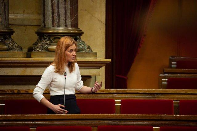 La líder dels comuns al Parlament, Jéssica Albiach, intervé durant la Diputació Permanent del Parlament.