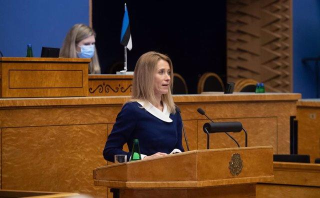 Kaja Kallas durante su juramento como primera ministra de Estonia.