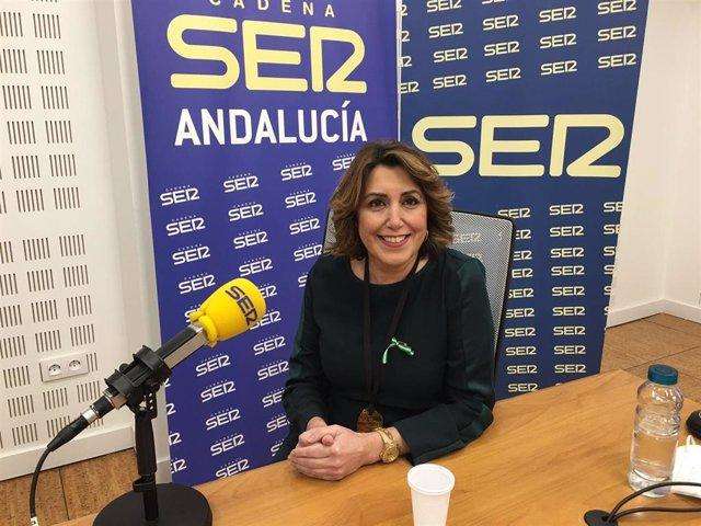 La secretaria general del PSOE-A, Susana Díaz, en una entrevista en la Cadena SER Andalucía.