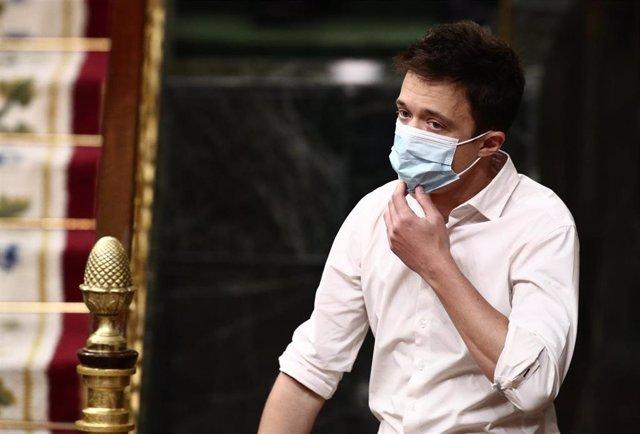 El líder de Más País, Íñigo Errejón, durante una sesión de Control al Gobierno en el Congreso de los Diputados, en Madrid, (España), a 24 de febrero de 2021.