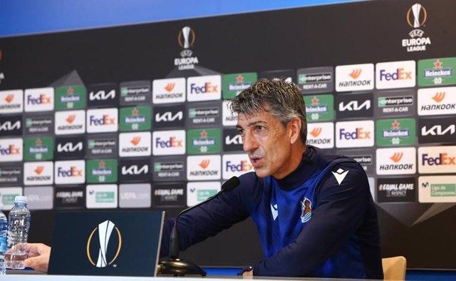 El entrenador de la Real Sociedad, Imanol Alguacil, en rueda de prensa previa a un partido de Liga Europa