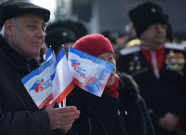 Archivo - March 15, 2019 - Simferopol, Russia: Participants during the festive events dedicated to the fifth anniversary of the Crimean Spring and republican referendum on the reunification of Crimea with Russia. (Viktor Korotaev/Kommersant/Contacto)