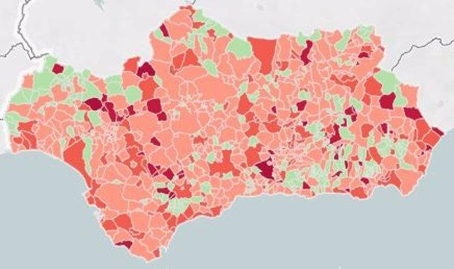 Mapa de incidencia del Covid-19 en Andalucía por municipios