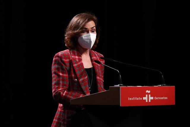 La vicepresidenta primera y ministra de la Presidencia, Relaciones con las Cortes y Memoria Democrática, Carmen Calvo, en una foto de archivo.