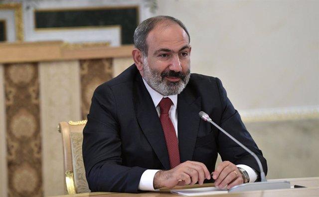 Archivo - El primer ministro de Armenia, Nikol Pashinian