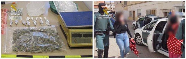 Imagen de las sustancias intervenidas y del momento de las detenciones