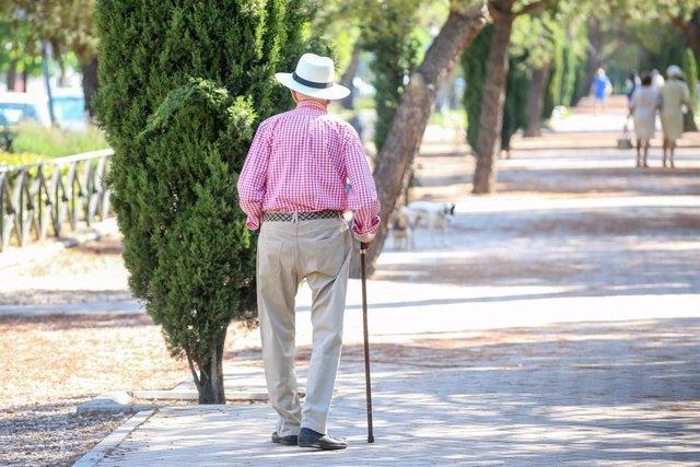 Archivo - Un hombre camina por un parque.