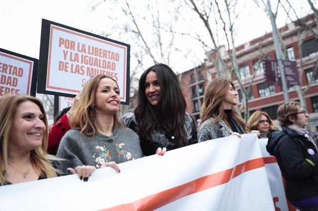 Archivo - Begoña Villacís durante la manifestación del 8M