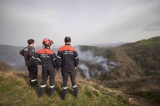 Tres bomberos de Navarra estudian el terreno del incendio iniciado en Bera y Lesaka
