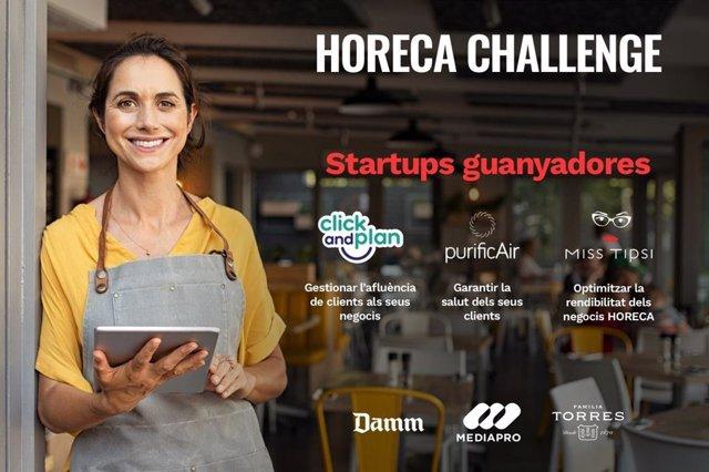 Cartel de promoción del Horeca Challenge, lanzado por Mediapro, Damm y Familia Torres para encontrar proyectos de ayuda al sector de la restauración. C