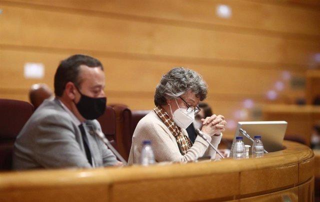 El diputado del PSPV-PSOE en el Congreso por la provincia de València, Vicent Sarrià; y la administradora única de RTVE, Rosa María Mateo, en una comparecencia en la Comisión Mixta de Control Parlamentario de RTVE y sus Sociedades celebrada en la Sala de