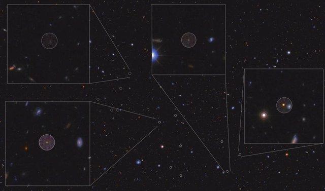 Imagen del cúmulo de galaxias en formación estudiado, a 12.500 millones de años luz. Los círculos señalan los nuevos miembros descubiertos con el GTC; 4 de ellos se muestran en detalle.