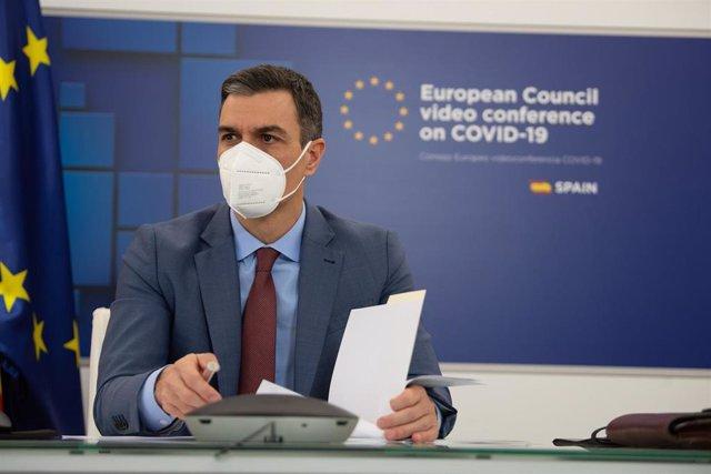 El presidente del Gobierno, Pedro Sánchez, participa por videoconferencia en la reunión del Consejo Europeo Extraordinario sobre el Coronavirus, en Madrid (España), a 25 de febrero de 2021.