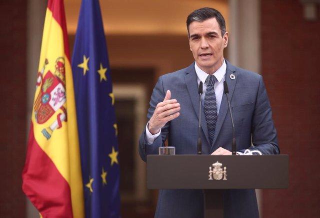 El presidente del gobierno, Pedro Sánchez, ofrece una rueda de prensa en Moncloa tras participar en la reunión del Consejo Europeo Extraordinario sobre el Coronavirus, en Madrid (España), a 26 de febrero de 2021.
