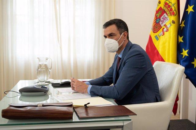 El president del Govern, Pedro Sánchez, participa per videoconferència en la reunió del Consell Europeu Extraordinari sobre el Coronavirus, a Madrid (Espanya), a 25 de febrer de 2021.