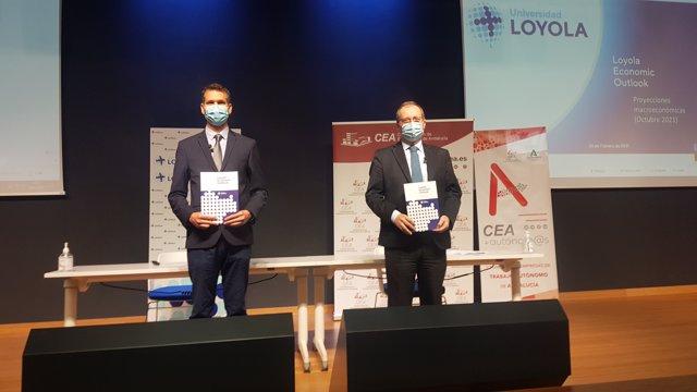 Luis Fernández-Palacios, secretario general de CEA, y de Olexandr Nekhay, profesor del Departamento de Economía de la Universidad Loyola y director del Informe LEO.