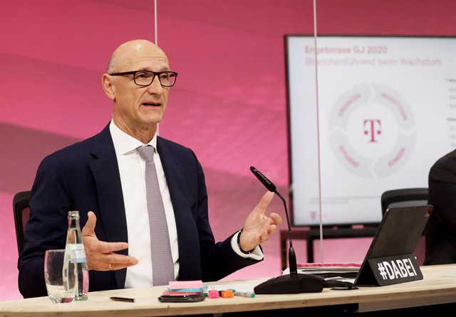 26 February 2021, North Rhine-Westphalia, Bonn: Timotheus Hoettges, CEO of German telecommunications giant Deutsche Telekom, speaks during the online annual press conference. Photo: Oliver Berg/dpa