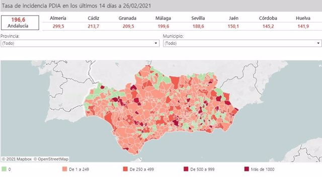 Mapa de incidencia del Covid-19 en Andalucía por municipios a 26 de febrero de 2021