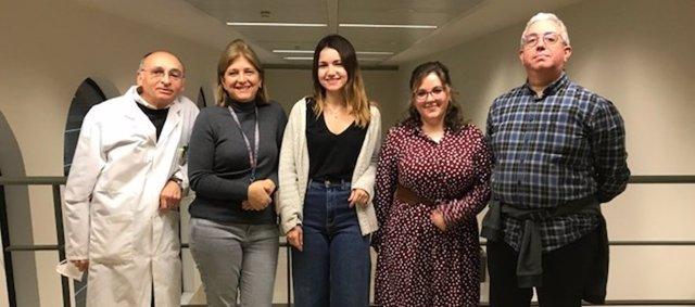 De izquierda a derecha, Federico Pallardó, Pilar González-Cabo, Tamara Lapeña-Luzón, Laura R. Rodríguez y Juan Antonio Navarro.