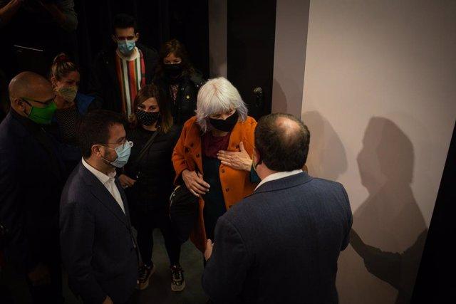 El vicepresident de la Generalitat en funcions i candidat d'ERC a la presidència, Pere Aragonès, la candidata de la CUP, Dolors Sabater, i el líder d'ERC, Oriol Junqueras, en una imatge d'arxiu.