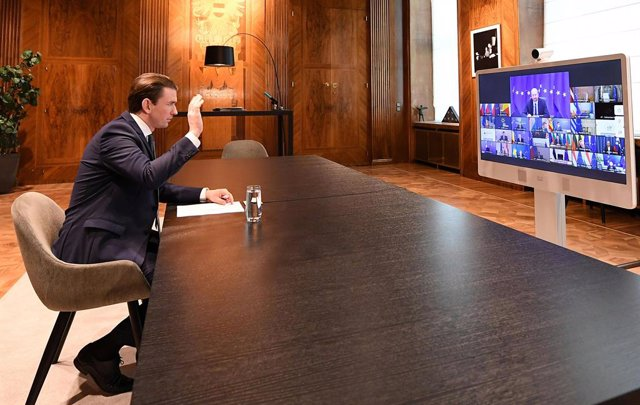 25 February 2021, Austria, Vienna: Austrian Chancellor Sebastian Kurz takes part via videolink in a special EU summit of heads of state and governments. Photo: Helmut Fohringer/APA/dpa
