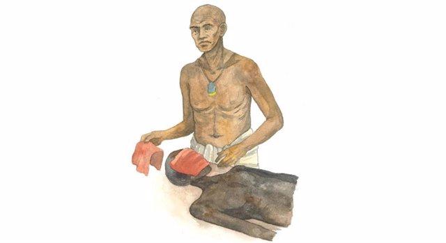 El papiro contiene nuevas evidencias del procedimiento de embalsamamiento del rostro del difunto, donde el rostro se cubre con un trozo de lino rojo y sustancias aromáticas.