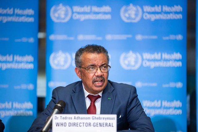 Archivo - El director general de la Organización Mundial de la Salud (OMS), Tedros Adhanom Ghebreyesus, en rueda de prensa para informar sobre novedades en el brote de coronavirus originado en China. 6 de febrero de 2020.