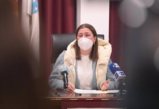 La alcaldesa de Boimorto , María Jesús Novo, durante un pleno. Foto de archivo.