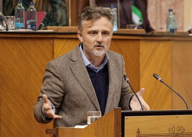 El portavoz parlamentario del PSOE-A, José Fiscal, en el Pleno del Parlamento.