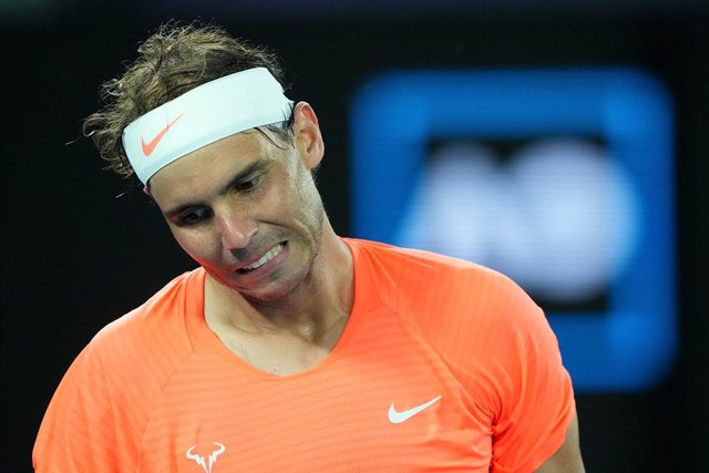 Rafael Nadal of Spain reacts during his Men's singles quarter finals match against Stefanos Tsitsipas of Greece on Day 10 of the Australian Open at Melbourne Park in Melbourne, Wednesday, February 17, 2021. (AAP Image/Dave Hunt) NO ARCHIVING, EDITORIAL US