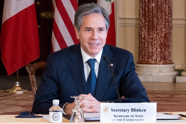 HANDOUT - 26 February 2021, US, Washington: US Secretary of State Antony Blinken speaks virtually with Mexican Foreign Secretary Marcelo Ebrard from the Benjamin Franklin Room at the State Department. Photo: Ron Przysucha/US Department of State/dpa - ATTE
