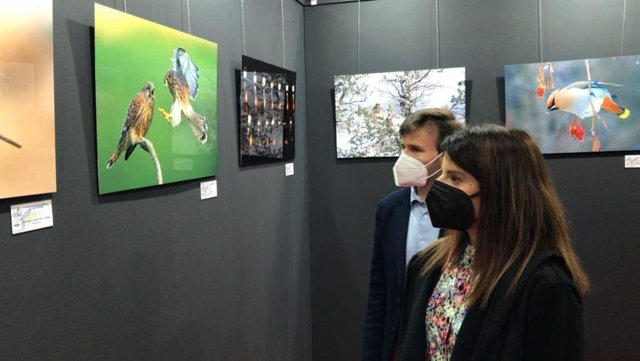 La consejera de Turismo contempla instantáneas del concurso de fotografía de FIO.