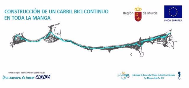Nota + Foto + Sonido/La Comunidad Adjudica Por 836.000 E Uros La Construcción Del Nuevo Carril Bici En La Manga