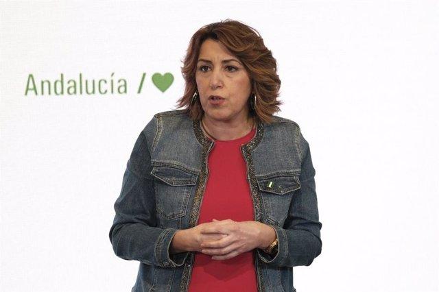 La secretaria general del PSOE-A, Susana Díaz, en el acto central del partido por el 28 de febrero, Día de Andalucía.