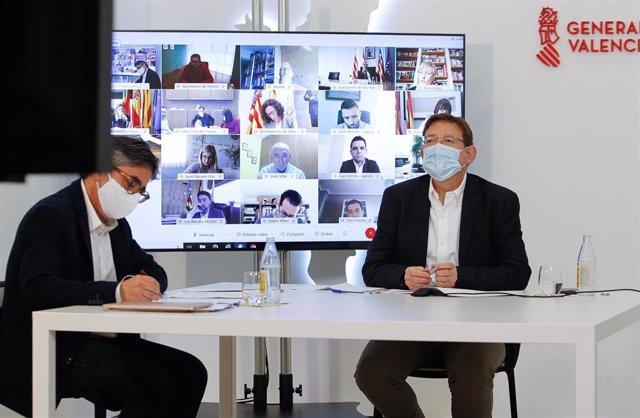 Reunión telemática de Ximo Puig con los alcaldes de grandes ciudades