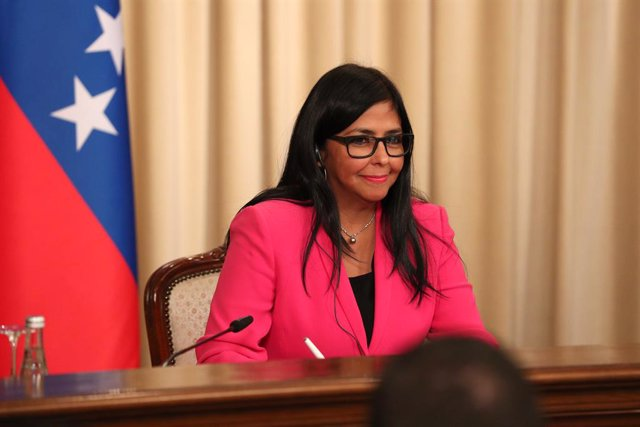 Archivo - HANDOUT - 01 March 2019, Russia, Moscow: The Vice President of Venezuela Delcy Rodriguez attends a press conference with the Russian Foreign Minister Sergey Lavrov (not pictured) following their meeting. Photo: -/Russian Foreign Ministry/dpa - A