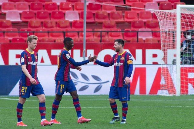 Celebrate score of Ousmane Dembele of Barcelona during LaLiga, football match played between Sevilla Futbol Club and Futbol Club Barcelona at Ramon Sanchez Pizjuan Stadium on February 27, 2021 in Sevilla, Spain.